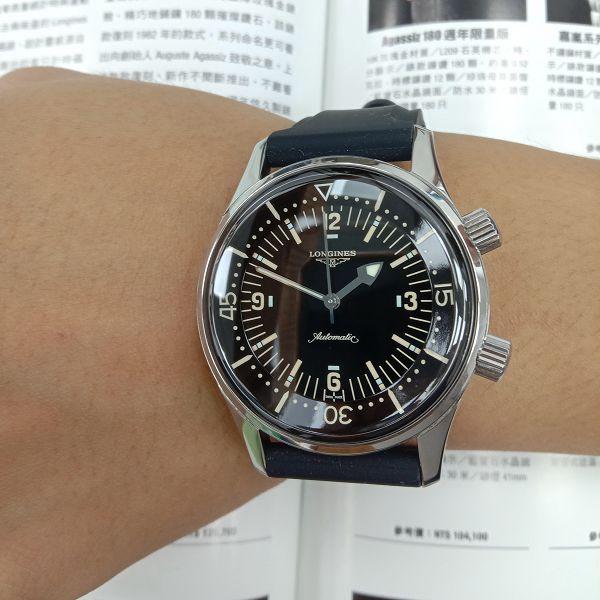 玖泰流當品二手極新 原裝LONGINES 浪琴 不鏽鋼 自動 潛水錶 男錶 喜歡價可議 ZR508
